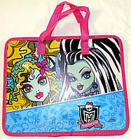 """Портфель пластиковый, """"Monster High (Школа монстров)"""", на молнии с тканевыми ручками, формат А-4"""