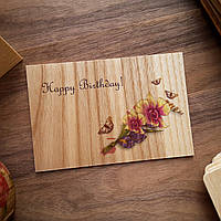 "Деревянная открытка ""Happy Birthday - Flowers"""