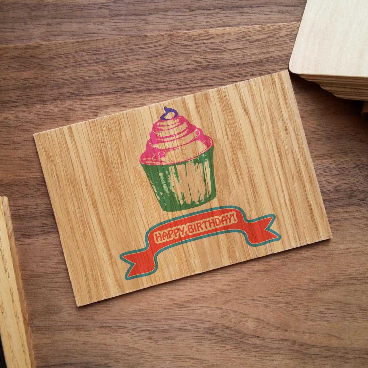 """Деревянная открытка """"Happy birthday"""""""