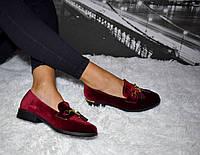 Туфли женские бордовые велюровые на низком ходу велюровые