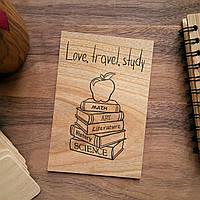 """Деревянная открытка """"Love, Travel, Study"""""""