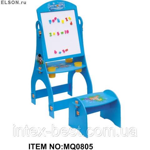 Детский двухсторонний мольберт со стульчиком Bambi MQ 0805