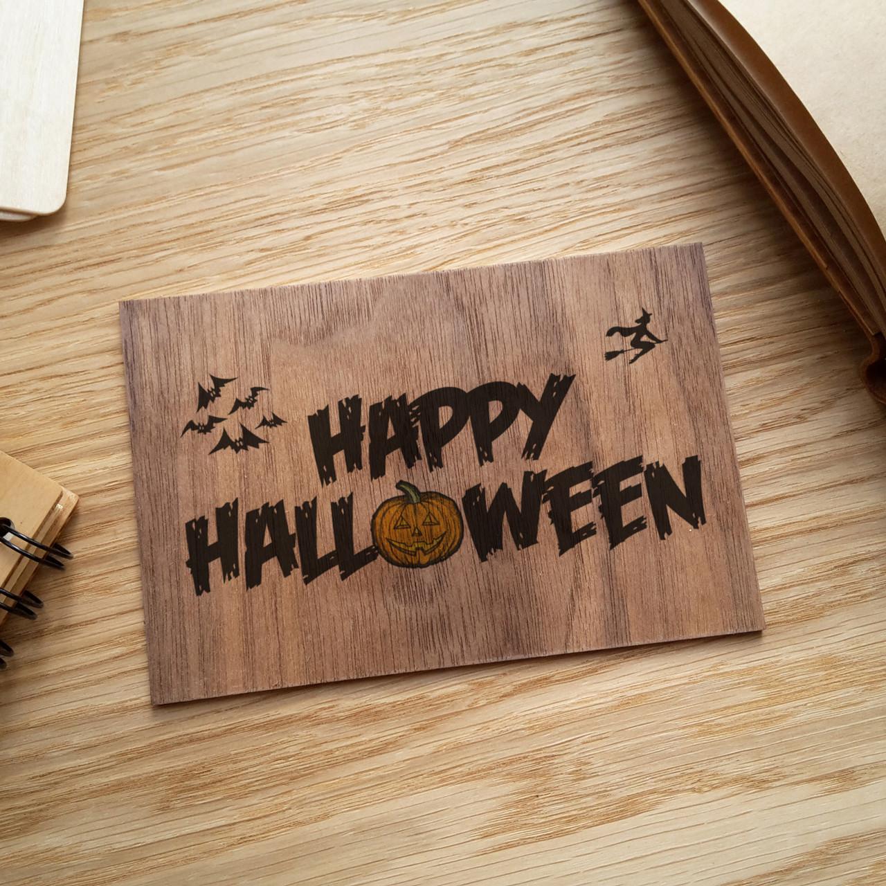 """Деревянная открытка """"Happy Halloween"""", фото 1"""