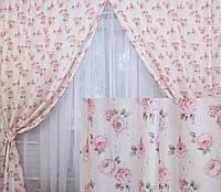 """Комплект готовых штор коллекция """"Прованс""""   Код 147ш 2 шторы шириной по 1м."""
