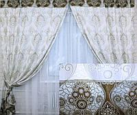 Две готовые двухцветные шторы из жаккарда.  148ш