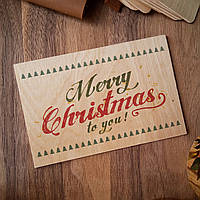 """Деревянная открытка """"Merry Christmas"""""""