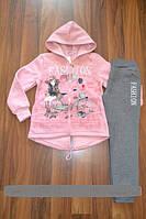 Теплые спортивные трикотажные (на байке) костюмы-двойки для девочек.Размеры 116-146 см