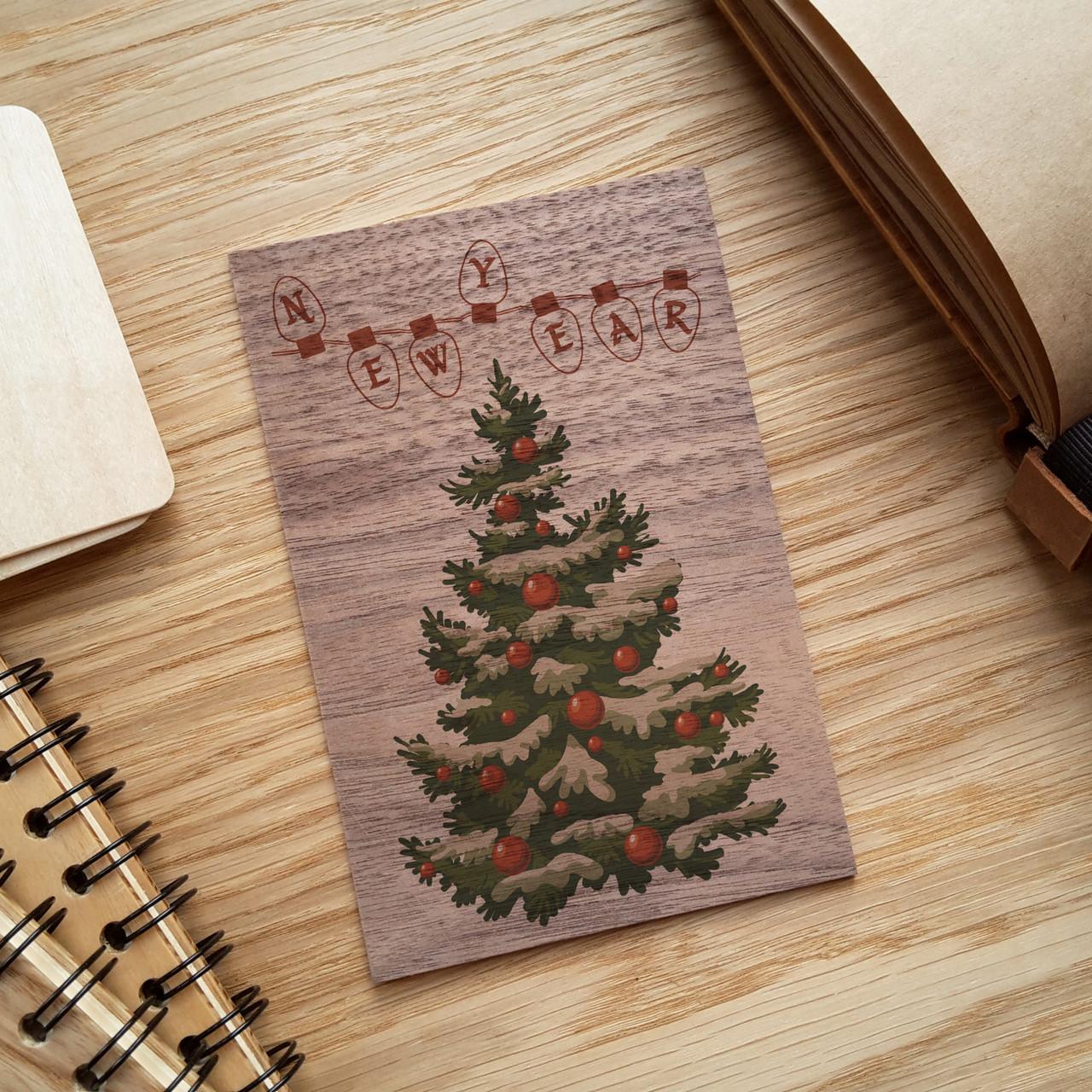 "Деревянная открытка ""New Year"", фото 1"