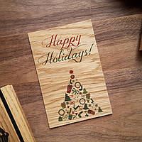 """Деревянная открытка """"Happy Holidays"""""""