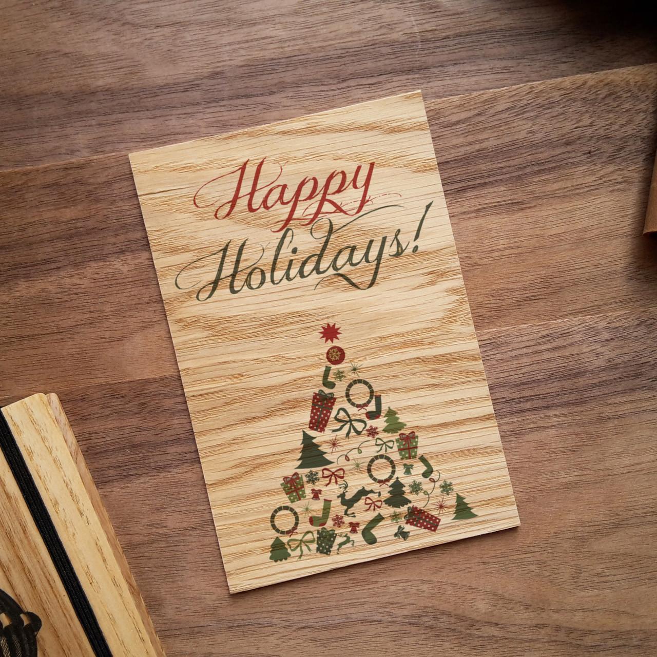 """Деревянная открытка """"Happy Holidays"""", фото 1"""