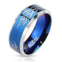 Стальное кольцо с племенным узором R-M0028
