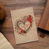 """Деревянная открытка """"Valentines Day"""""""