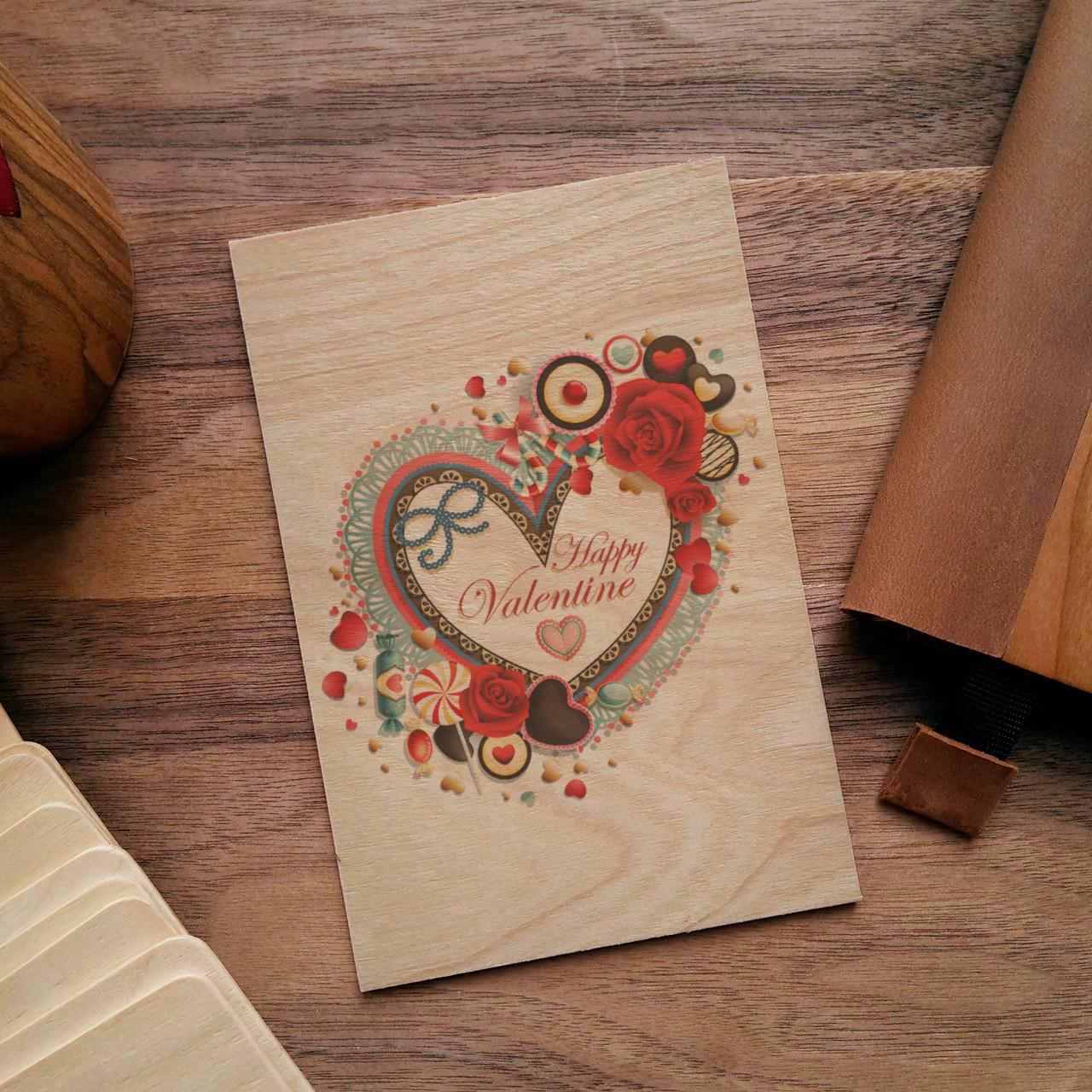 "Деревянная открытка ""Valentines Day"", фото 1"