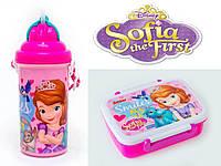 """Набор """"Princess Sophia (Принцесса София)"""".  Контейнер для завтрака (ланч бокс) + бутылка с трубочкой"""
