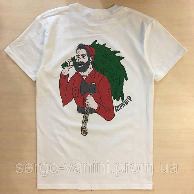 Топовая футболка RipNDip | Бирки Фотки реальные | Мужская белая