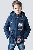 Детская демисезонная куртка парка для мальчиков р.128-152 цвет синий, качество, тепло, комфорт