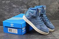 Высокие женские кроссовки Adidas Tubular Invader, голубые