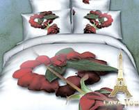 """Комплект постельного белья Love You Сатин 3D """"Симпатия"""" Полуторный"""