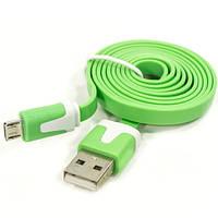 Кабель Lesko плоский microUSB/USB 1m Зеленый для смартфона планшета