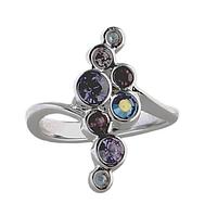 """Кольцо """"Суфле"""" с кристаллами Swarovski, покрытое родием (e143f050)"""