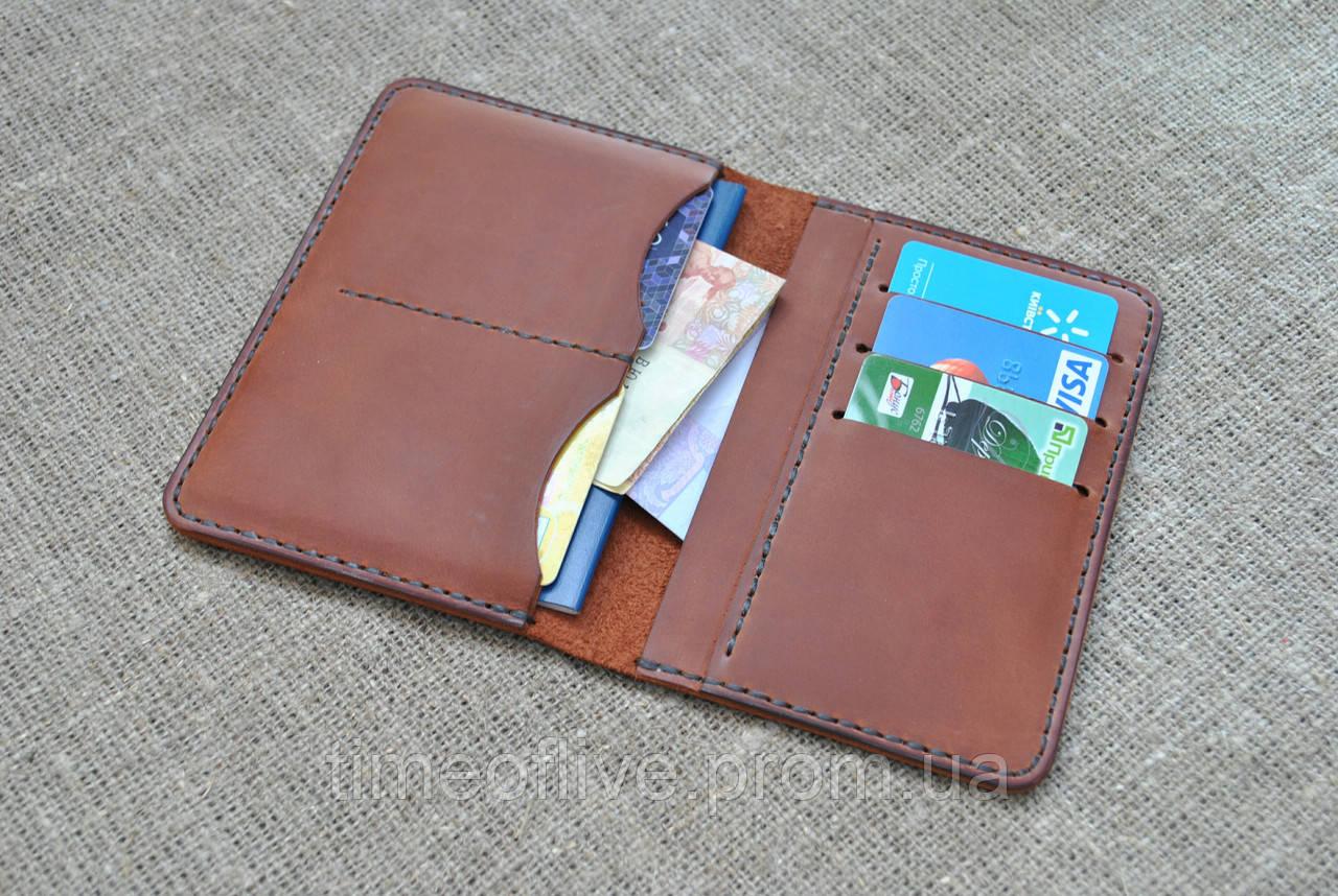 Универсальный чехол для документов, денег и банковских карт из натуральной кожи ручной работы