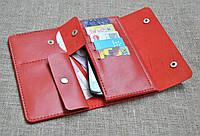 Стильный и вместительный портмоне красного цвета из натуральной кожи ручной работы