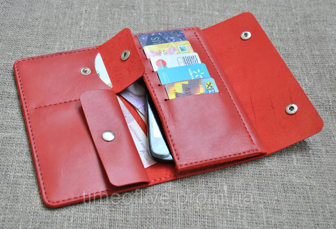 0dd0f8976215 Стильный и вместительный портмоне красного цвета из натуральной кожи ручной  работы - Time of live в