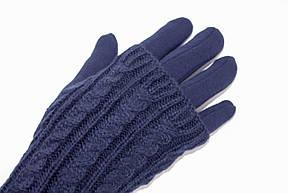 Женские перчатки стрейч  длинные+митенка Синие, фото 2
