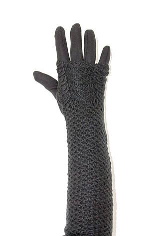 Женские перчатки стрейч  длинные+митенка Черные, фото 2
