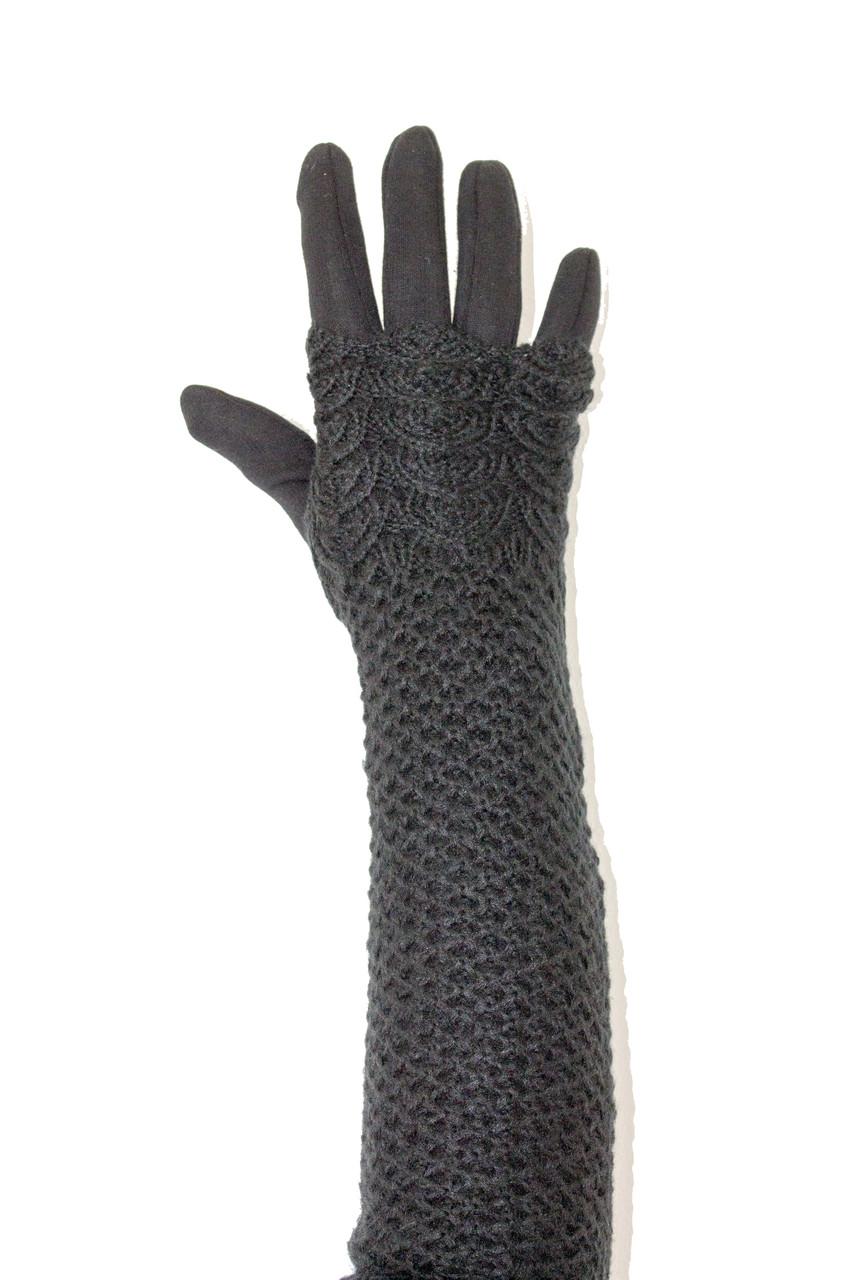 Женские перчатки стрейч  длинные+митенка Черные
