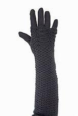 Женские перчатки стрейч  длинные+митенка Черные, фото 3