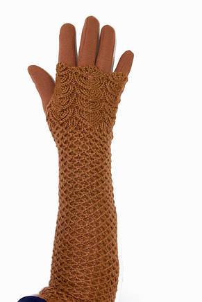 Женские перчатки стрейч  длинные+митенка Рыжие, фото 2