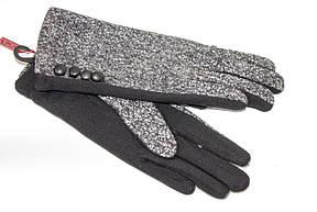 Женские стрейчевые перчатки Комбинированые Средние, фото 3
