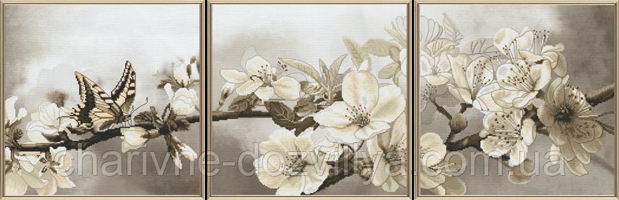 """Набор для вышивания нитками и бисером триптих """"Цветущий сад"""""""