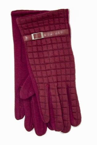 Женские стрейчевые перчатки Универсальные Бордовые, фото 2