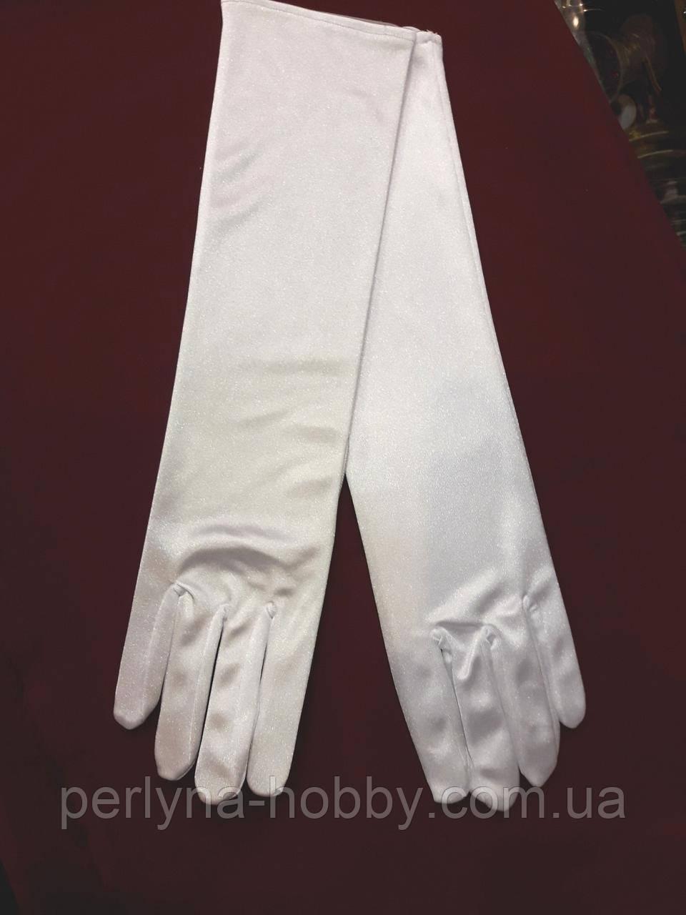 Рукавички жіночі атласні довгі білі 37-38 см