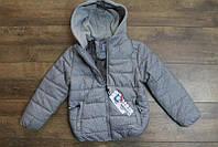 Теплая куртка на синтепоне (подкладка- мех) 8-10,16 лет Цвет серый