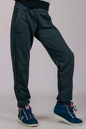Спортивные штаны детские для мальчика на манжетах трикотажные двунитка серого цвета Украина