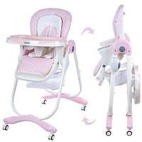 Стільчик Dolce M 3236-3 для годування, ремені безпеки, столик висув., 4 колеса , шкіра, рожевий