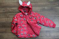 Демисезонная куртка на синтепоне  1-2-3-4-5 лет Цвет коралловый