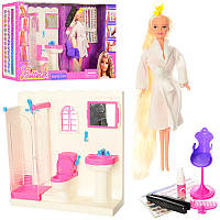 Кукла с мебелью для ванной комнаты и аксессуарами 68027