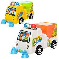 Машинка 6020 (288шт) для уборки дорог,16,5см,свет(на запуске), 2цв,на бат-ке,в кульке,16,5-7,5-9,5см