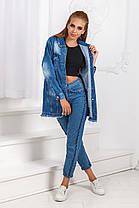 ДТ7142  Джинсовая куртка удлиненная, фото 2
