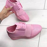 """Кроссовки """"Monday"""", цвет: РОЗОВЫЙ , материал: экокожа+обувной текстиль, на шнурках+резинка"""