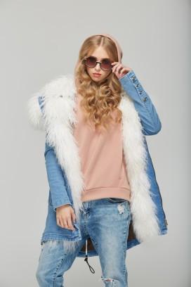 Женская джинсовая парка с натуральным мехом ламы