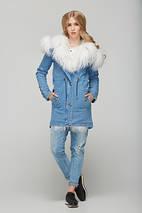 Женская джинсовая парка с натуральным мехом ламы, фото 2