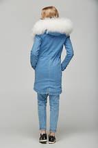 Женская джинсовая парка с натуральным мехом ламы, фото 3