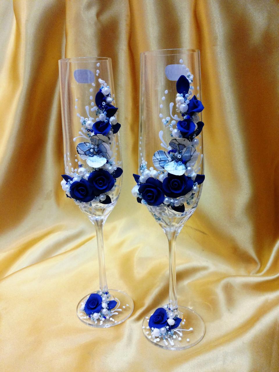 Свадебные бокалы в синем цвете