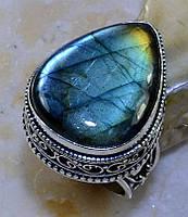 Великолепное кольцо капля с камнем лабрадор в серебре. Кольцо капля с лабрадором.Размер 17-17,3.Индия!, фото 1