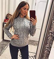 Теплый вязаный женский свитер